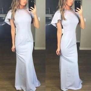 JS Boutique Embellished Crew Neck Flutter Gown
